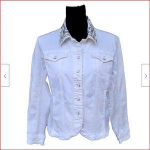 Christine Alexander Embellished White Denim Jacket